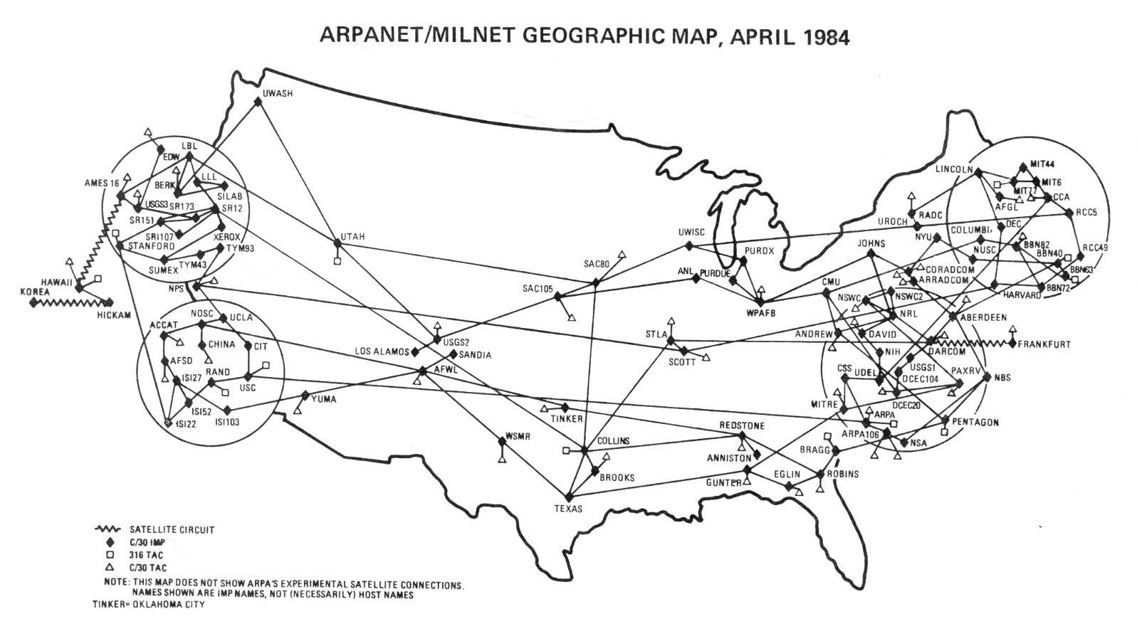 Carte géographique d'ARPANET/MILNET en Avril 1984
